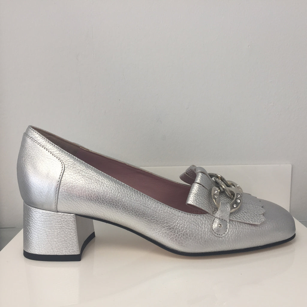 Scolaro Silver Loafers with Block Heel
