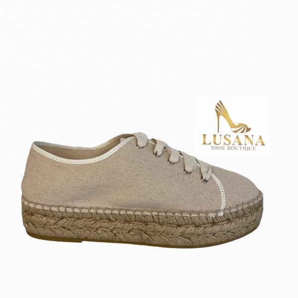 Viguera Beige Cotton Espadrille Trainer - New