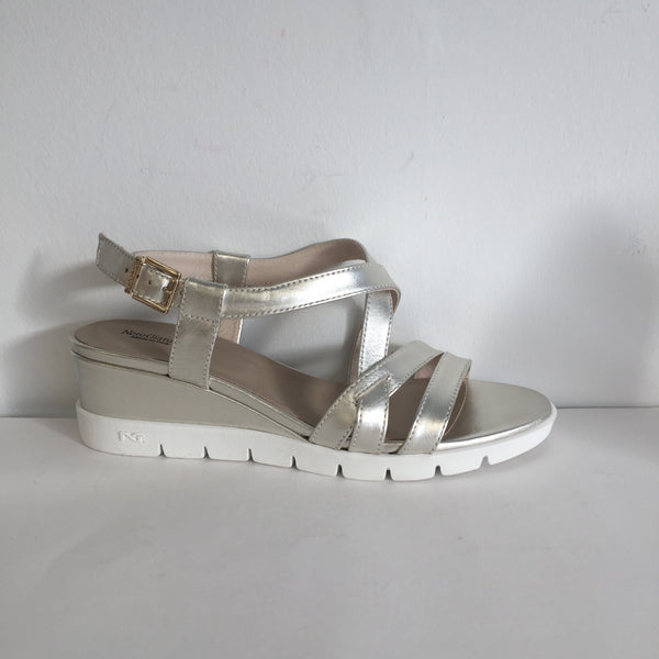NeroGiardini Pale Gold Wedge Sandal - New