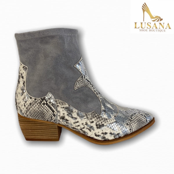 Marian Grey Suede and Leather Ankle Boot