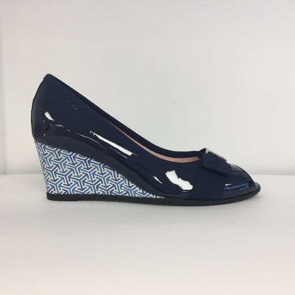 Le Babe Navy Patent Wedge