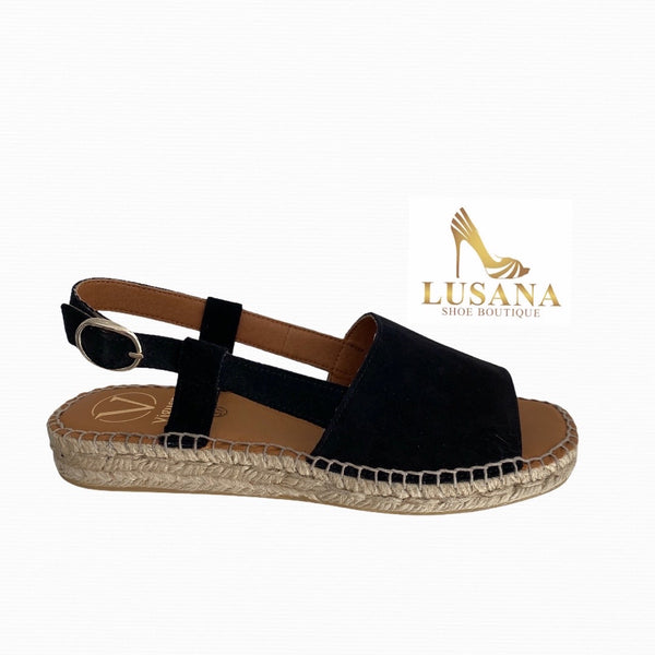 Viguera Black Suede Espadrille Sandals - New