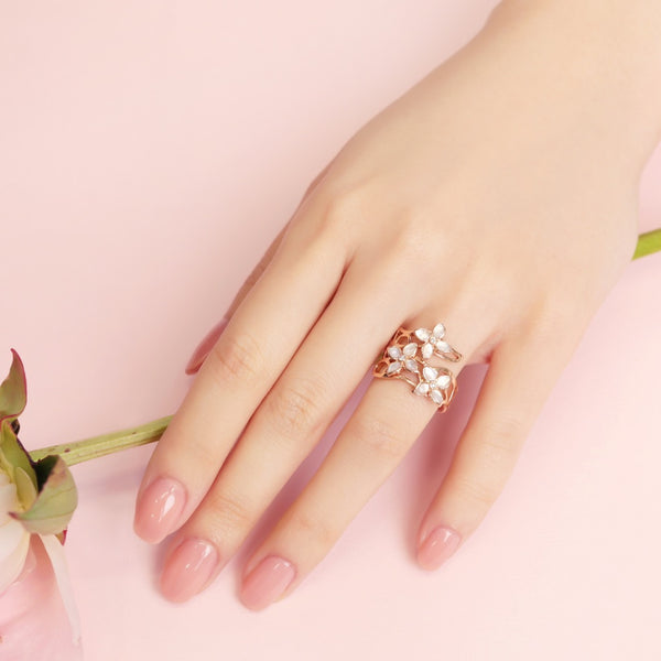 18K Rose Gold  Crown Blossom Ring