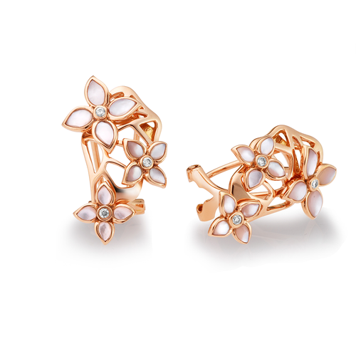18K Rose Gold Crown Blossom Earring