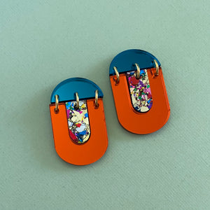 'Kiki' Dangle - Orange Mirror/ Party Glitter/ Teal Mirror