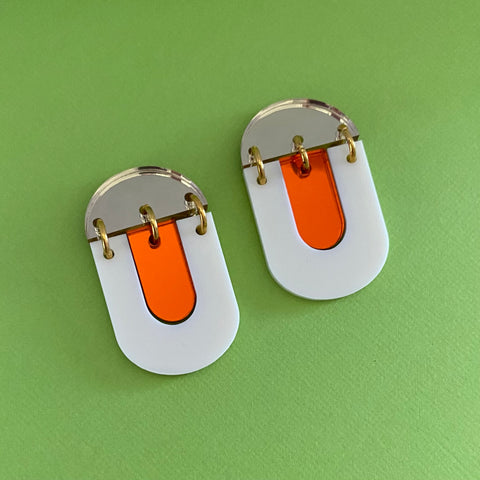 'Kiki' Dangle - Cream/ Orange Mirror/ Gold Mirror