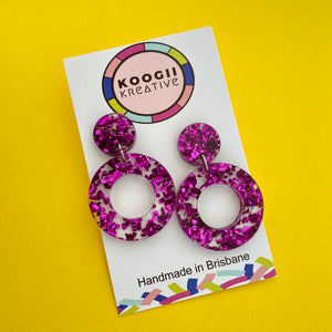 'Cookie' Dangle - Berry Purple Chunky Glitter