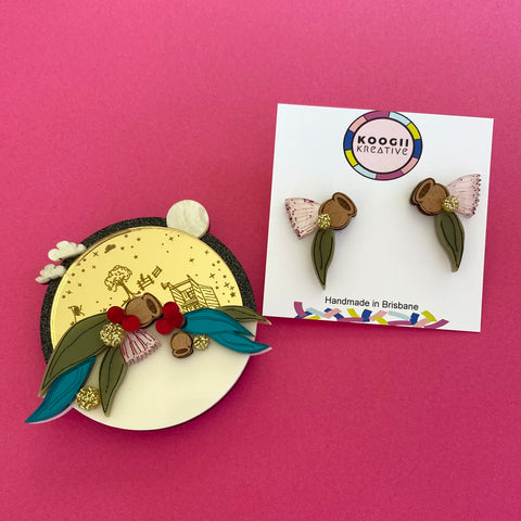 'Bush Christmas' Brooch & Studs (BUNDLE) ***Pre Order***