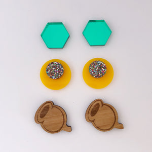 'Lobelicious Oi Oi Oi' TRIO Stud Earrings