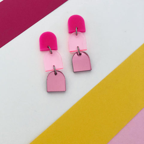 'Party Poppers' 3 TIER Dangles (Hot Pink)