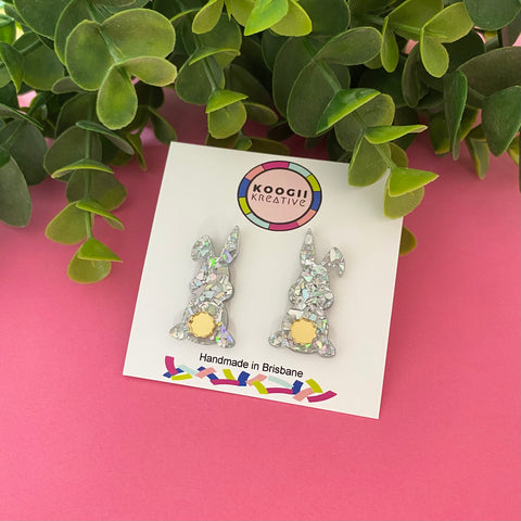 'Brad the Bunny' Studs (Silver Holographic Glitter)