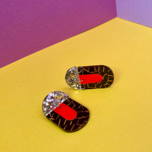 'Kiki' Dangle - Leopard/ Red Neon / Silver Glitter