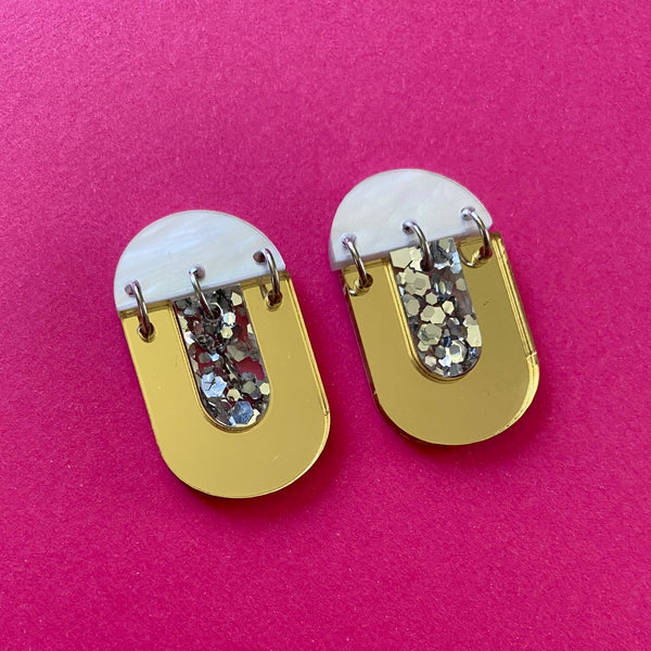 'Kiki' Dangle - Gold Mirror/ Silver Glitter/ White Marble