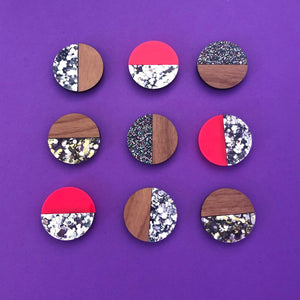 'Moon Glitter' Stud Earrings (choose colour)