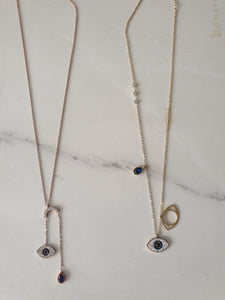 Necklace - Rose Gold Double Luck Evil Eye