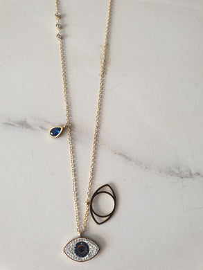 Necklace - Gold Evil eye embellishment