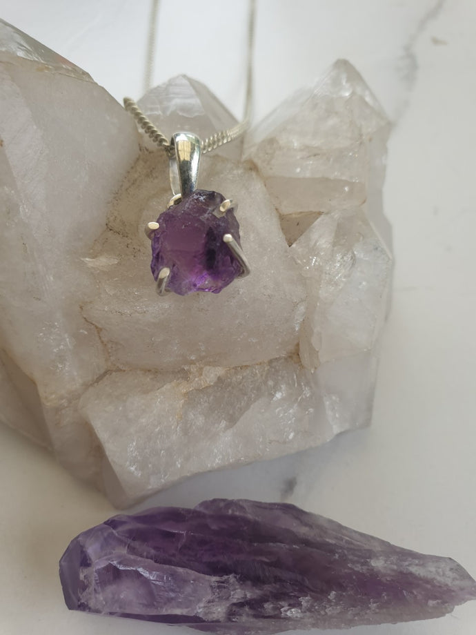 Necklace - Raw Amethyst sterling silver