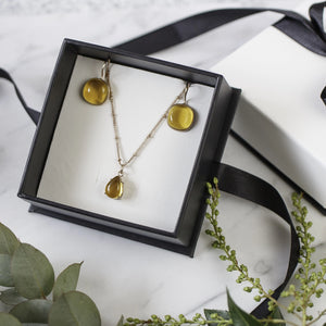 Sets - Citrine Rose Gold Necklace with Drop Earrings