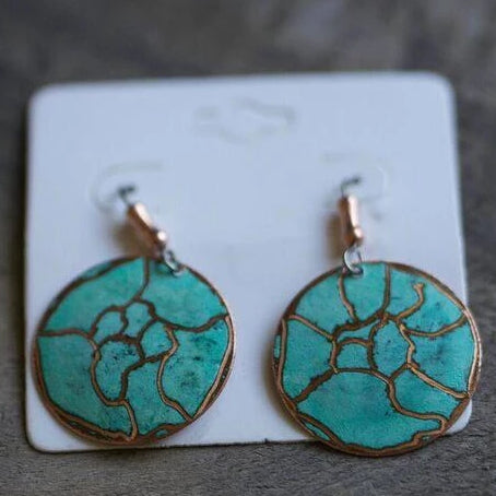 Earrings - Unique handmade pattern round