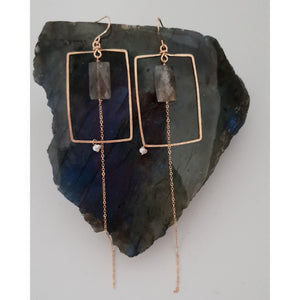 Earrings -  Gold Statement Labradorite
