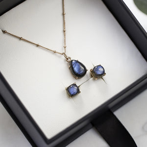 Sets - Labradorite Rose gold Necklace with Stud Earrings
