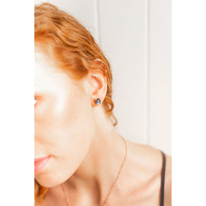 Earrings - Labradorite Studs Rose Gold