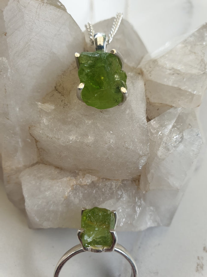 Necklace - Raw Peridot Sterling Silver