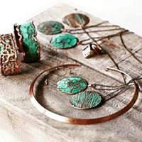 Copper Cuff/bangle/bracelet  - Aqua Modern On-Trend