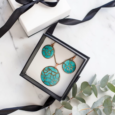 Sets - Copper pattern Necklace with round earrings