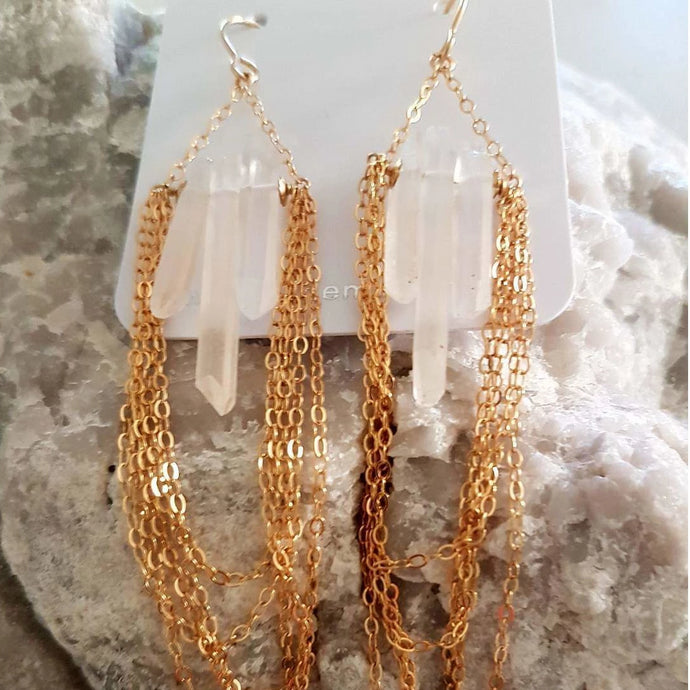 Earrings -  Gold Crystalight