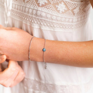Bracelet - Turquoise Evil Eye in Sterling Silver or Rose Gold