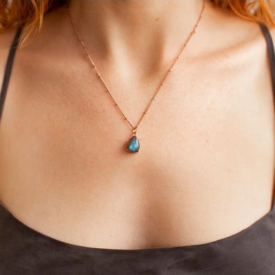 Necklace -  Labradorite Rose Gold
