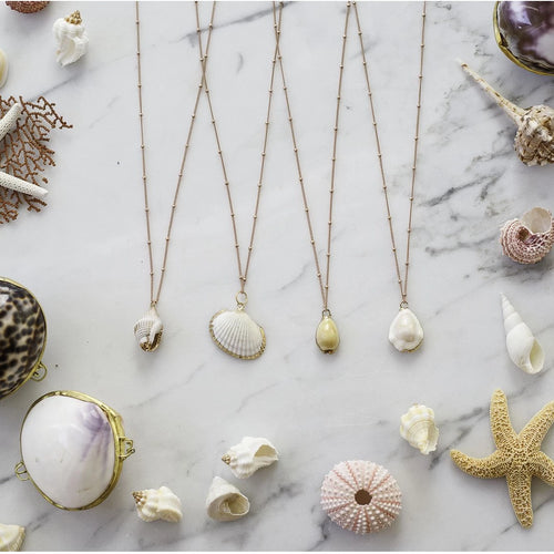 Natural Shell Necklaces - 2 tone gold & rose gold