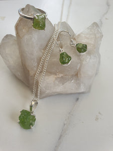 Earrings - Raw Peridot Sterling Silver