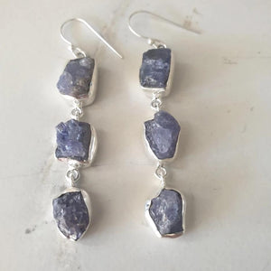Earrings - Raw Tanzanite sterling silver