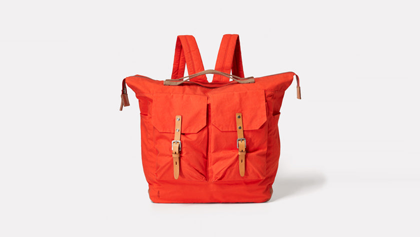 Ally Capellino Frank Waxed Cotton Rucksack in Flame Orange