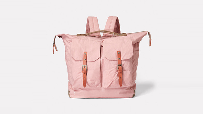Frank Waxed Cotton Rucksack in Chalky Pink