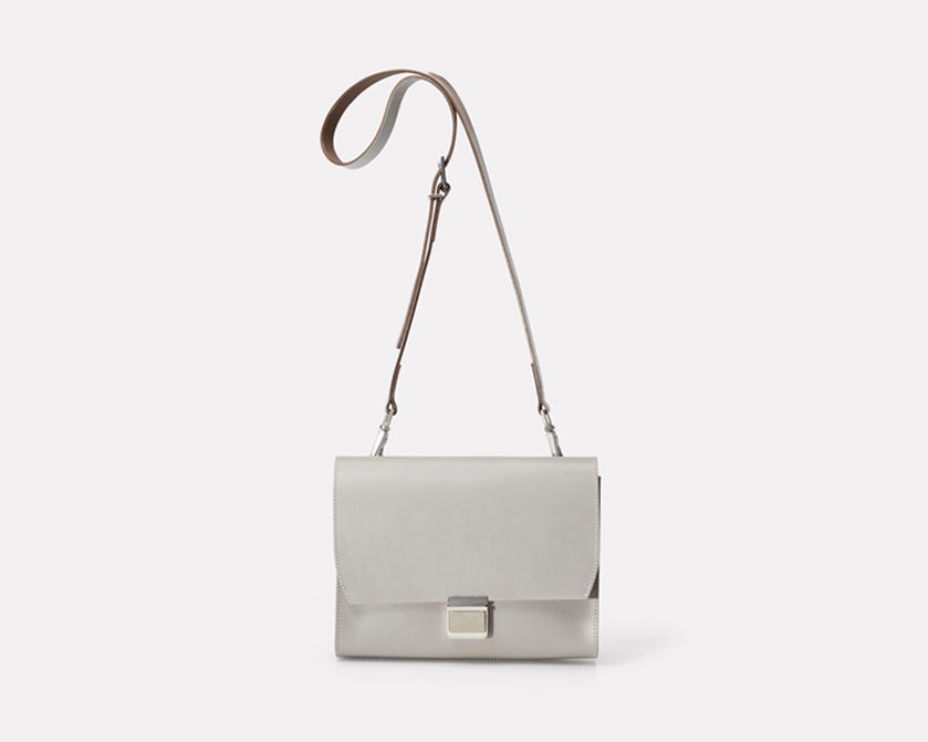 Ally Capellino Simone Medium Marlow Leather Crossbody Bag in Light Grey