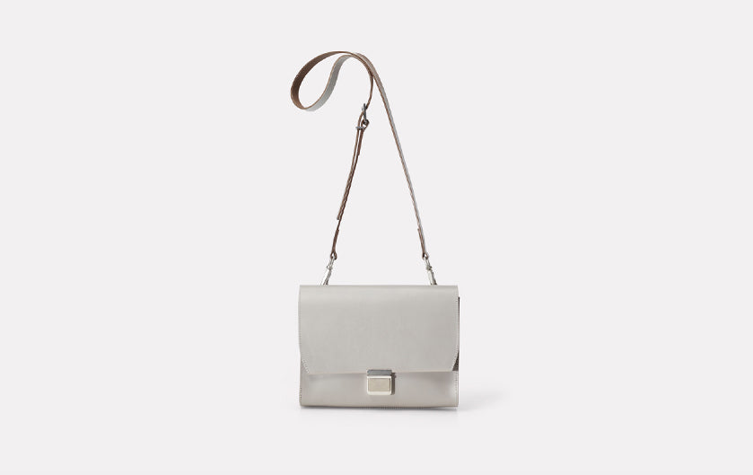 Ally Capellino Simone Small Marlow Leather Crossbody Bag in Light Grey