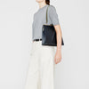 Braidy Slash Leather Frame Shoulder Bag in Navy/Olive