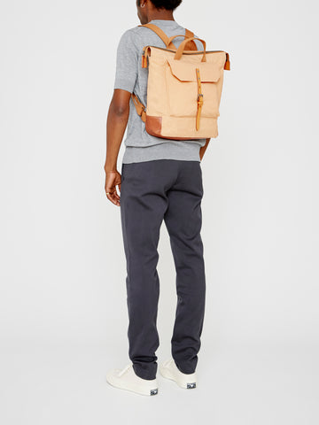 Frances Waxed Cotton Rucksack in Plaster