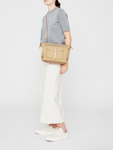 Francesca Waxed Cotton Crossbody Bag in Sand