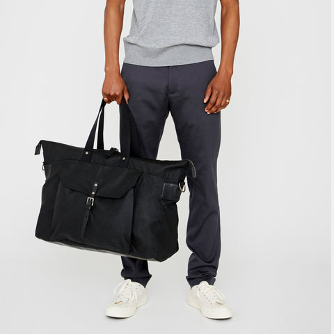 Travel bag, SS19, waxed cotton, mens, womens, holdall, unisex, black, travel, large bag, black holdall, black travel bag, large travel bag, large tote, weekend bag, black weekend bag, black waxed cotton bag, black waxed cotton holdall, luggage,