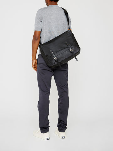 Jeremy Medium Waxed Cotton Satchel In Black