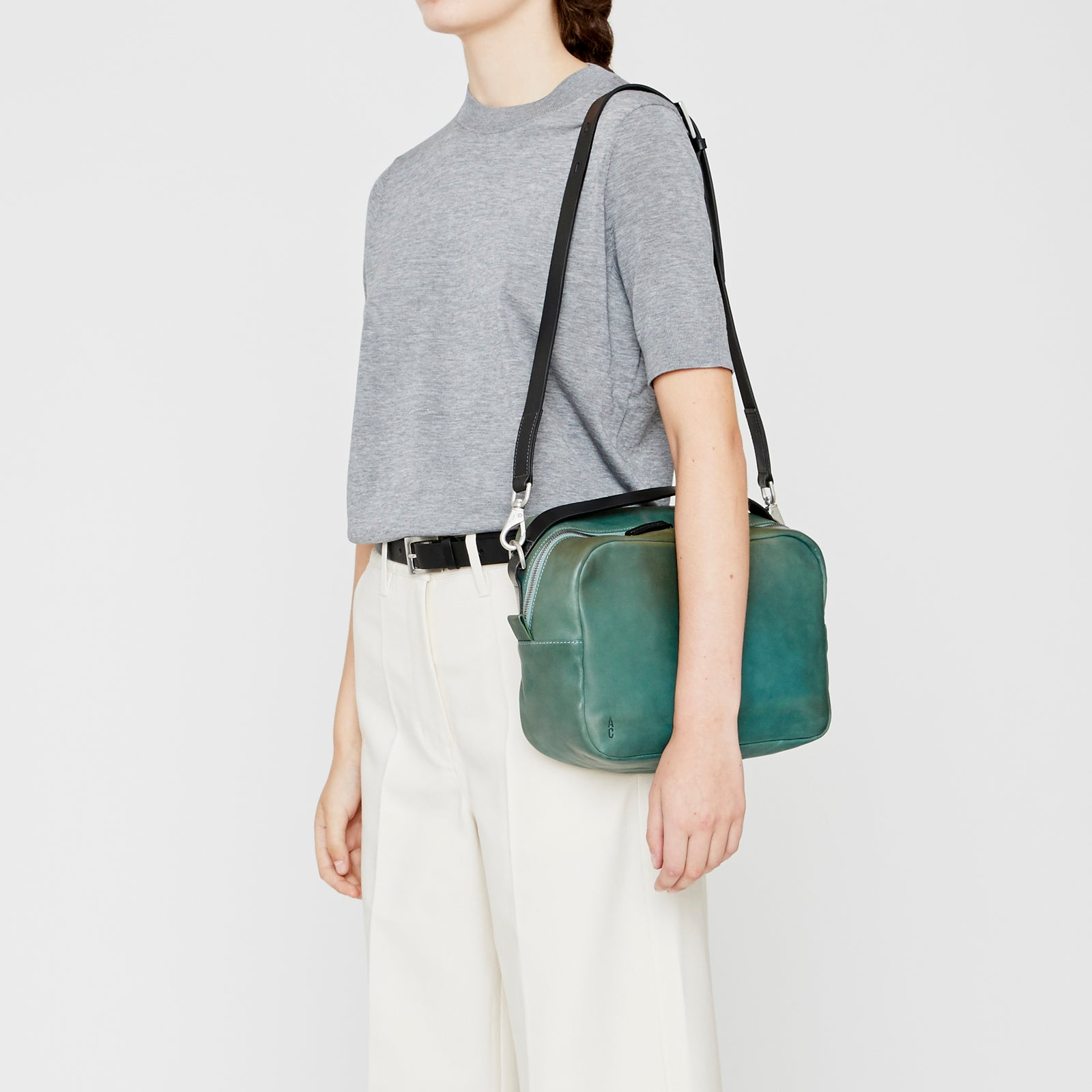 Leila Large Vegetable Tanned Leather Crossbody Bag in Mint – Ally ... 97f04e7a1c