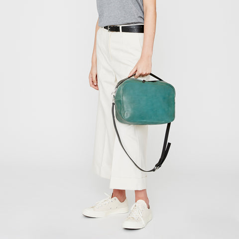 Leila Large Leather Crossbody Bag in Mint