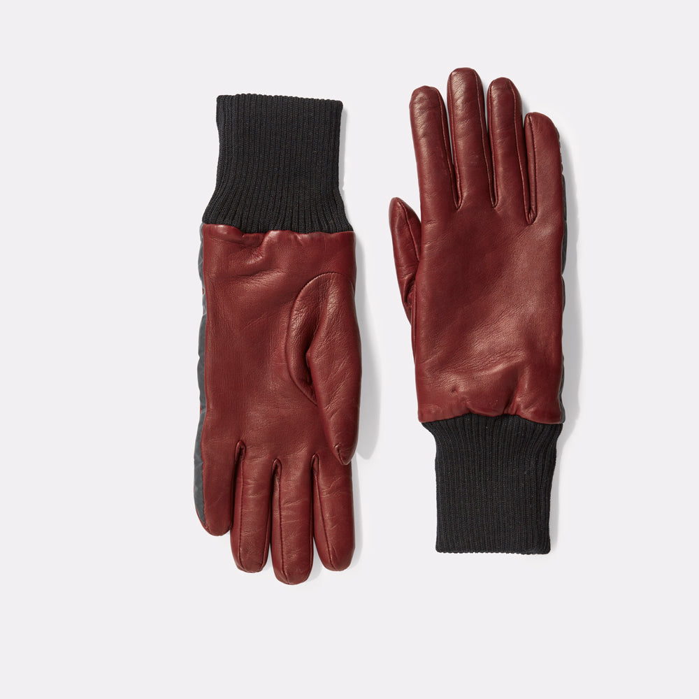 Ladies Leather Gloves With Reflective Strips in Emillion Red