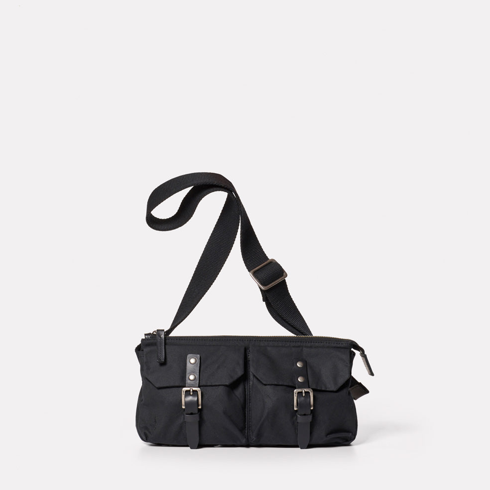 Adam Waxed Cotton Belt Bag in Black