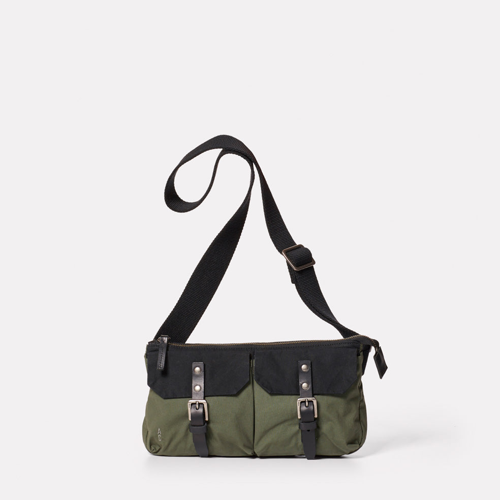 Adam Waxed Cotton Belt Bag in Black and Olive