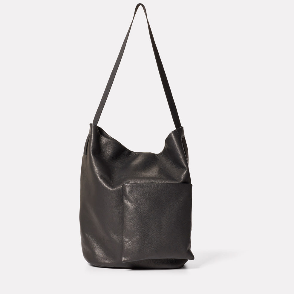 Bobo Camlet Leather Shoulder Bag in Black